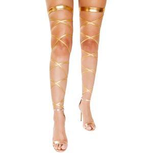 Metallic Leg Wraps Straps Garter Goddess Costume